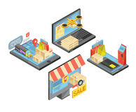 Online Shopping Isometric Compositions Royalty Free Stock Photography