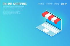 Online shopping isometric concept laptop. Flat design graphic elements, signs, symbols, line icons set. Vector illustration. Royalty Free Stock Image