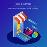 Online shopping, isometric concept, mobile app or landing page d stock illustration