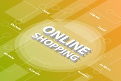 Online shopping isometric 3d word text concept with some related text and dot connected - vector. Illustration vector illustration