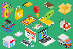 Online shopping - isometric items Stock Images