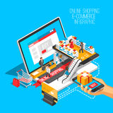 Online shopping isometric shadow illustration with mobile phone, laptop, stores orders isolated vector illustration. Online shopping isometric shadow Stock Image