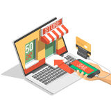Online shopping isometric shadow illustration with mobile phone, laptop, stores orders isolated vector illustration. Online shopping isometric shadow Royalty Free Stock Image
