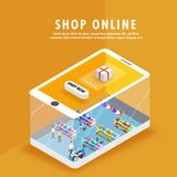 Online shopping, isometric shopping store on a smartphone, many royalty free illustration