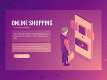 Online shopping isometric vector concept, man makes a purchase, mobile phone smartphone, electronic order 3d. Online shopping isometric vector concept, man makes Stock Images