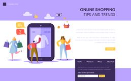 Online Shopping Landing Page Template. Characters Buying Clothing Using Smartphone, E-commerce Concept for Website. Or Web Page. Vector illustration stock illustration