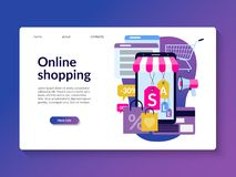Online shopping landing page template. royalty free illustration