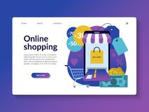 Online shopping landing page template. vector illustration