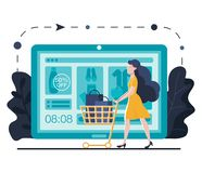 Online shopping landing page template for website or mobile. Young woman with trolley buys online. shop online using stock illustration