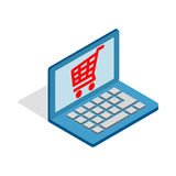 Online shopping in laptop icon, isometric 3d style Royalty Free Stock Photography