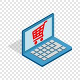 Online shopping in laptop isometric icon Royalty Free Stock Photography
