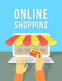 Online Shopping by Laptop Stock Photo