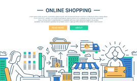 Online shopping line flat design banner with a purchase process Royalty Free Stock Photos