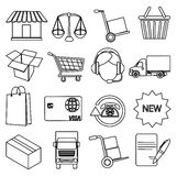 Online shopping line icons set Stock Images