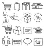 Online shopping line icons set Stock Photography