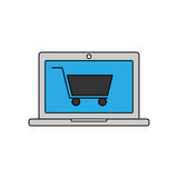 Online shopping linear icon. Vector illustration Stock Photography