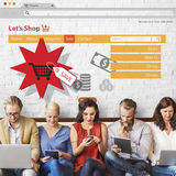 Online Shopping Marketing Sale Promotion Concept. People Making Online Shopping Marketing Sale Promotion Royalty Free Stock Images
