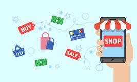 Online-shopping med smartphonen Arkivbild