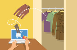 Online shopping men clothes concept. Online shopping men clothes flat vector conceptual illustration. A man with laptop orders clothing in the online store with Stock Photos