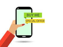 Online shopping. The message Buy Me. Female hand Stock Images