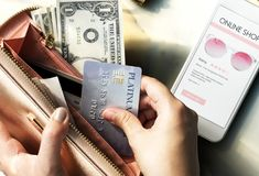 Online shopping on mobile credit card payment Stock Image