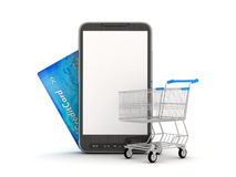 Online Shopping by mobile phone Stock Images