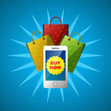 Online shopping with mobile phone application Stock Images