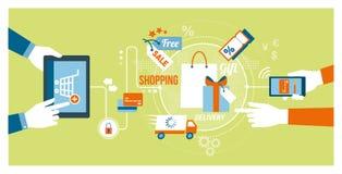 Online-shopping och apps stock illustrationer