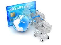 Online-shopping och betalningar - begreppsillustration Arkivfoto