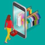 Online-shopping- och consumerismbegrepp Rengöringsduk för lägenhet 3d för mobil e-kommers för livsmedelsbutikshopping isometrisk  royaltyfri illustrationer