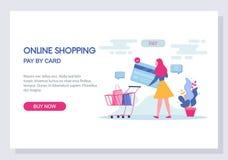online-shopping- och e-kommers begrepp Website och landa sidamalldesign vektor vektor illustrationer