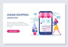 online-shopping- och e-kommers begrepp Website och landa sidamalldesign vektor royaltyfri illustrationer
