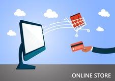 Online-shopping och e-kommers Köp, försäljning, betalning och leverans av produkten, kreditkort, bärbar dator stock illustrationer