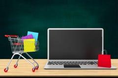 Online-shopping- och hemsändningbegrepp Pappers- påsar i shopp stock illustrationer