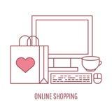 Online-shopping och illustration för stil för e-kommers vektor linjär royaltyfri illustrationer