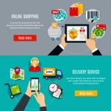 Online-shopping- och leveransbaner stock illustrationer