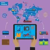 Online-shopping- och mobilmarknadsföringsbegrepp Fotografering för Bildbyråer