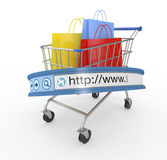 Online shopping. One shopping cart with an internet browser address bar, concept of online shopping (3d render Royalty Free Stock Images