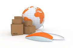 Online shopping. One carton box with a computer mouse and a world globe, concept of online shopping and shipping worldwide (3d render Royalty Free Stock Photography