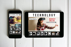 Online shopping: online store, sale of virtual reality products. And technology on the tablet and mobiel screen Stock Image