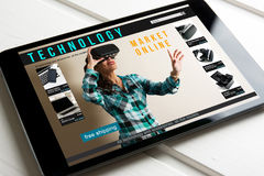 Online shopping: online store, sale of virtual reality products. And technology on the tablet screen Royalty Free Stock Images