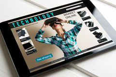 Online shopping: online store, sale of virtual reality products. And technology on the tablet screen Stock Image