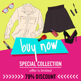 Online shopping. Online store for women. Flat lay. Online shopping. Online store for women. set of women`s clothing and accessories. 70 discount. sale vector vector illustration
