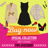 Online shopping. Online store for women. Flat lay. Online shopping. Online store for women. set of women`s clothing and accessories. 70 discount. sale vector stock illustration