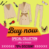Online shopping. Online store for women. Flat lay. Online shopping. Online store for women. set of women`s clothing and accessories. 70 discount. sale vector royalty free illustration