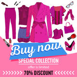 Online shopping. Online store for women. Set of women`s clothing and accessories. 70 discount. sale vector web banner vector illustration