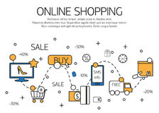Online shopping  outline concept of purchasing process in online store. Stock Photos