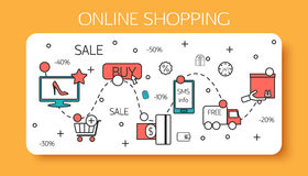 Online shopping  outline concept of purchasing Royalty Free Stock Photography