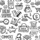 Online shopping pattern Royalty Free Stock Photos