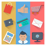 Online shopping and payment methods icons Stock Photography